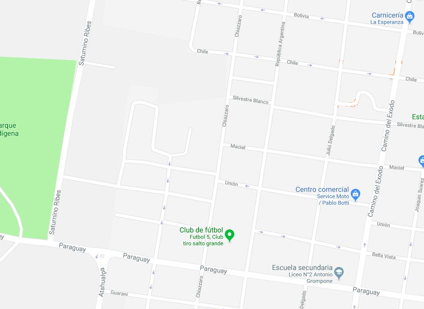 Mapa de zona afectada en Salto.